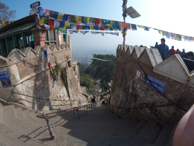 Steps to climb at Swayambhunath Temple, Kathmandu, Nepal, 2015