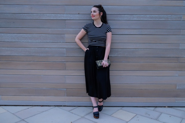 Topshop platforms, Zara crop top, Monki skirt, clutch from India, fashion blogger, Dubai