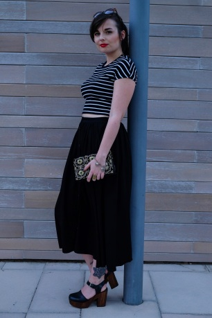 Topshop platforms, paired with Monki midi skirt and Zara striped crop top with clutch bag from market in India, fashion blogger, dubai