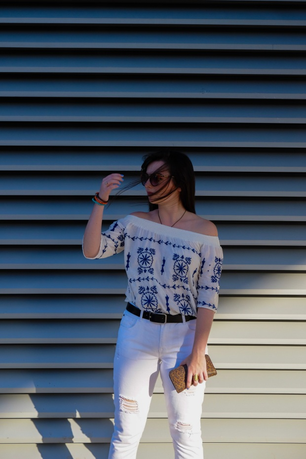 Splash off the shoulder top, summer style, white jeans, blogger
