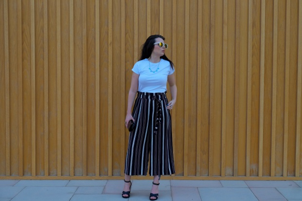 Zara paper bag trousers, river island wedges, rayban sunglasses