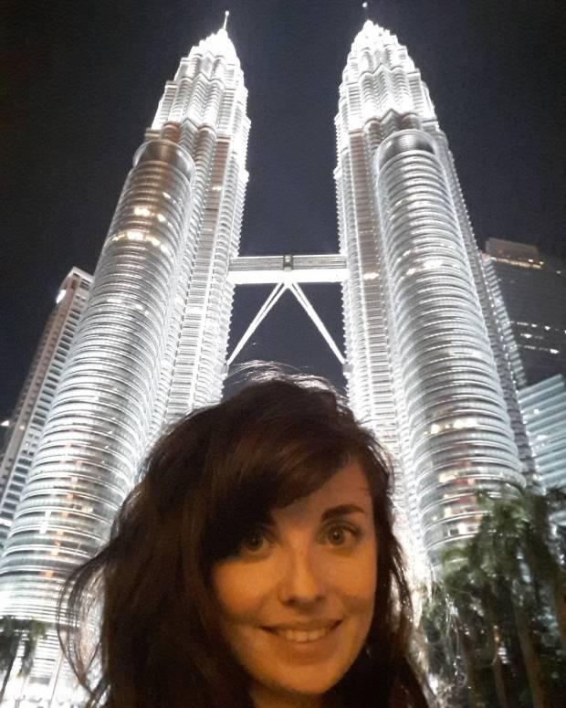 Selfie with the Petronas Twin Towers in Kuala Lumpur, Malaysia, South East Asia