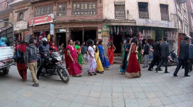 Women dressed in Sarees in Durbar Square, Kathmandu, Nepal, 2015