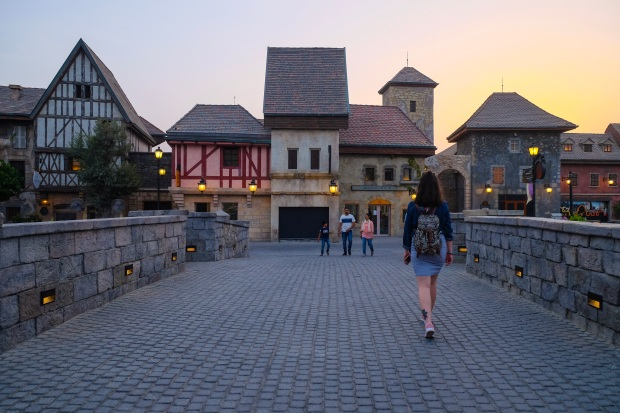 Sunset at French Village at Riverland, Dubai Parks and Resorts