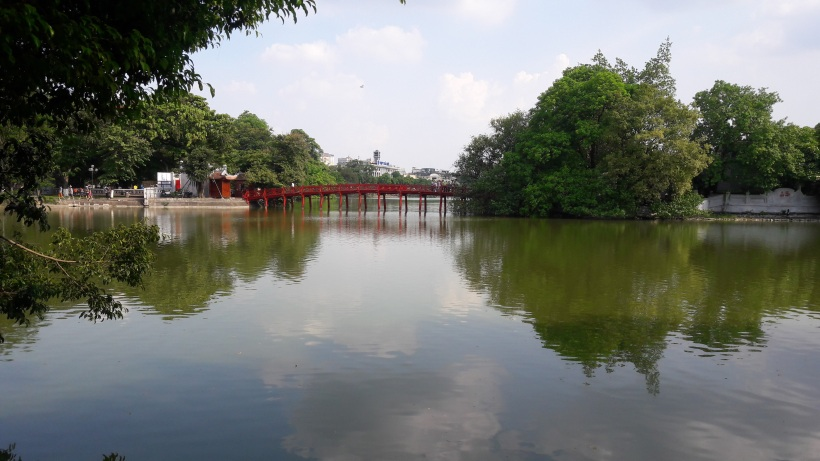Huc Bridge at Hoan Kiem Lake in Hanoi, Vietnam