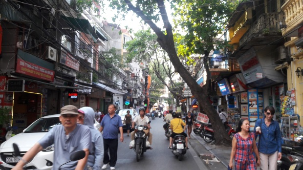 Busy streets of Old Quarter in Hanoi, Vietnam