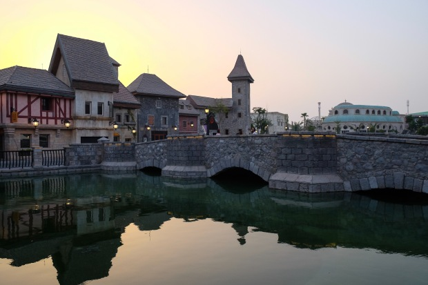 Riverland, French Village, Dubai Parks and Resort, Sunset