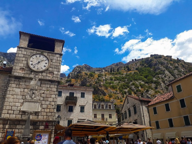 Clock Tower and Mountains in Kotor Montenegro the Balkans