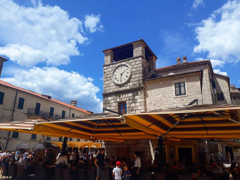 Clock tower in Kotor Montenegro the Balkans