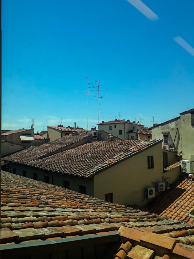 View of the terracotta rooftops in Florence Italy