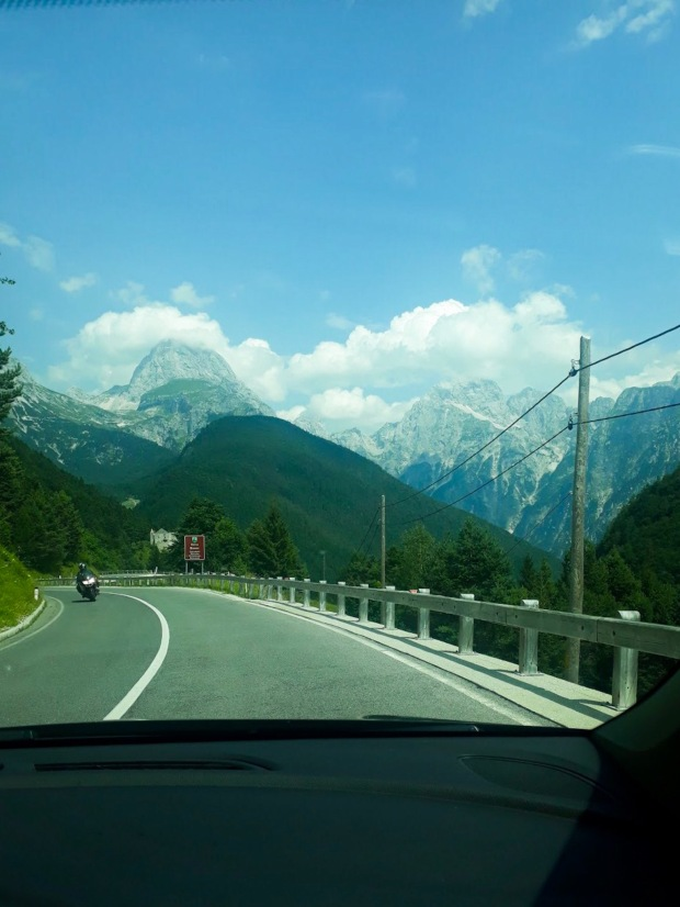 Driving through the Julian Alps in Slovenia, Europe