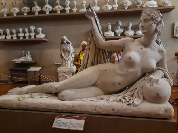 Beautiful statues in Galleria dell'Academia in Florence, Italy