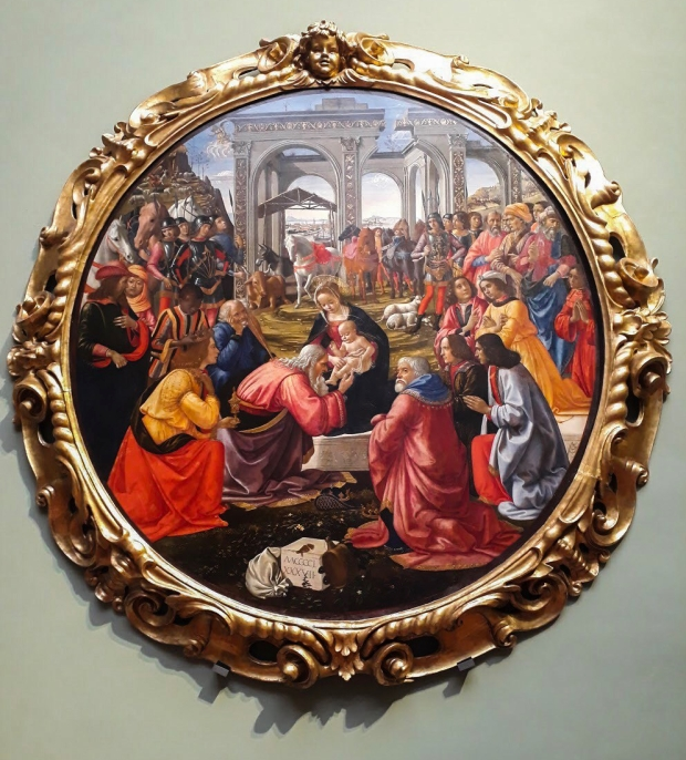Beautiful Renaissance style painting in Uffizi Gallery in Florence Italy