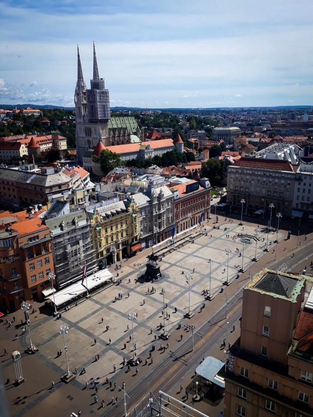View of Ban Jelačić Square from the Observation Deck, Zagreb, Croatia