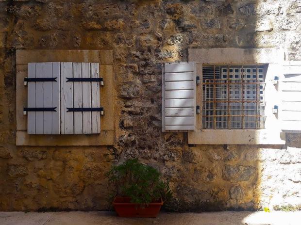 Window panels in Budva, Montenegro, the Balkans