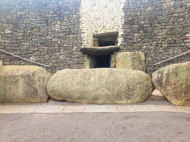 Megalithic Art on Kerb Stone at entrance to Newgrange, Co. Meath, Ireland